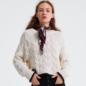 Zara Cropped Cable Knit Sweater